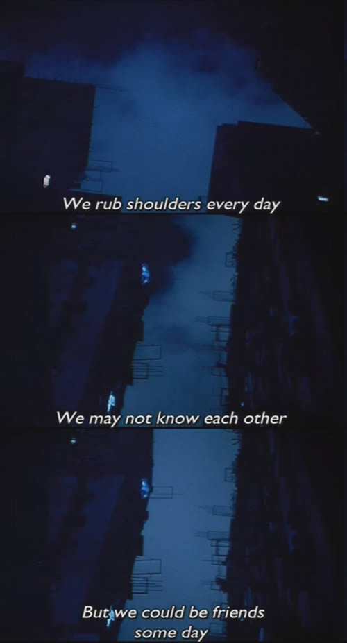 "Dark sky - ""We rub shoulders every day. We may not know each other. But we could be friends some day."""