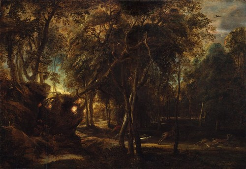 Peter Paul Rubens - A Forest at Dawn with a Deer Hunt, ca. 1635. Oil on wood