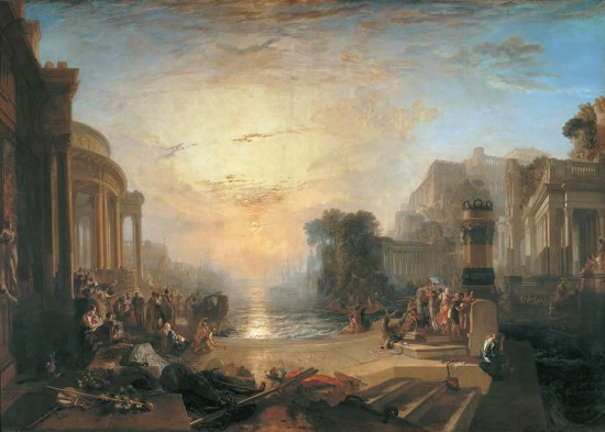 Oil on canvas by William Turner showing a setting sun in ancient city - 1702 x 2388 mm