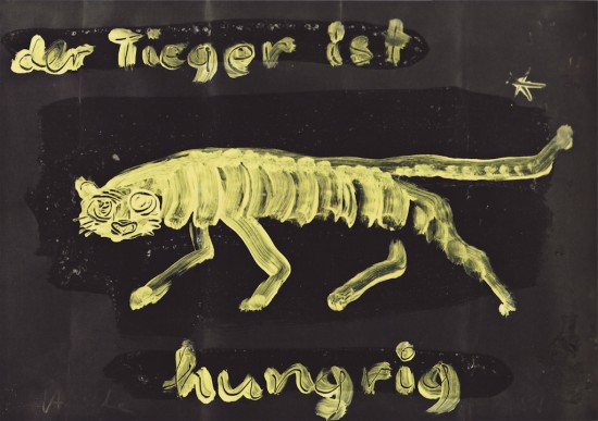 Gouache on black cardboard by Karl Horst Hödicke titled Tiger, 1989
