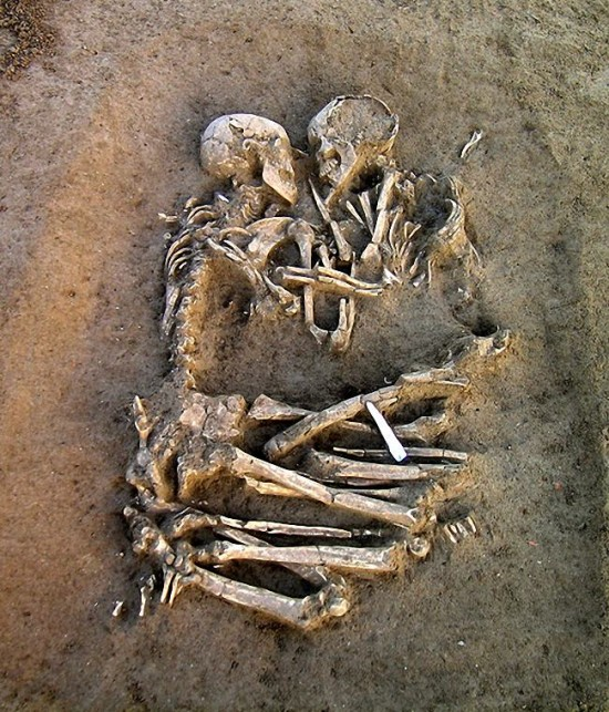 Eternal Embrace - Neolithic era skeletons embracing each other found in Italy