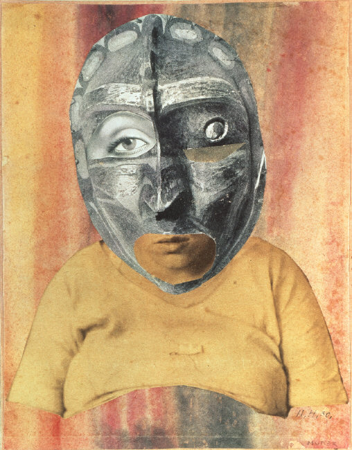 Strange portrait-like montage. The subject is rotund and wears a torturous looking mask.