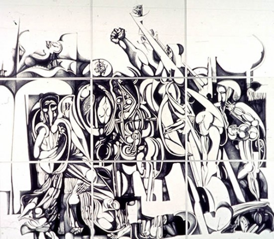 The Inevitable - Ibrahim Mohammed El-Salahi; India Ink on 9 panels, together 209 x 238 inches