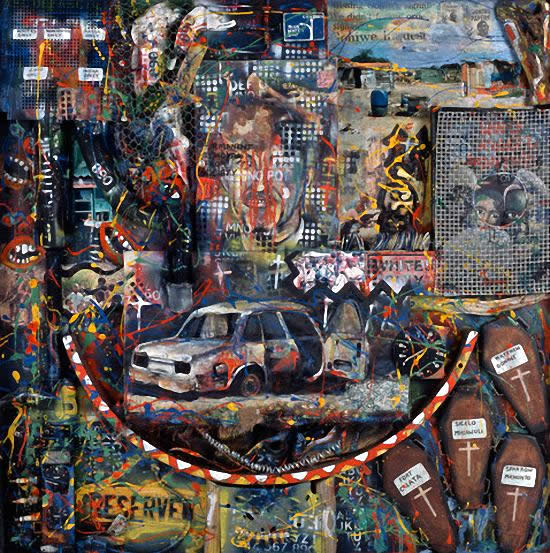 Goniwe - Willie Bester; Oil,enamel paint and mixed mediums on board 49 1/4 X 49 1/4 inches