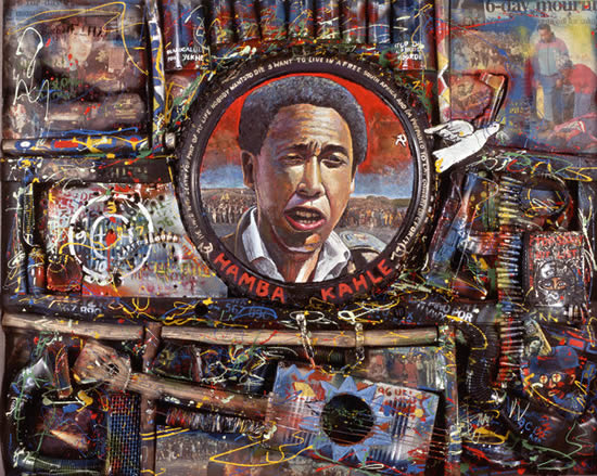 Hamba Kahle - Willie Bester; Oil, wood, metal, plastic and leather on board