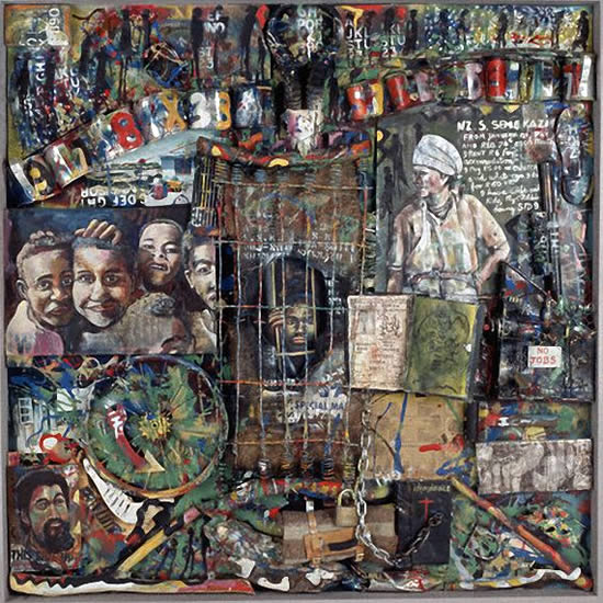 Semekazi - Willie Bester; Oil, wood, metal, plastic and leather on board
