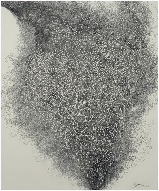 Hiroyuki Doi, Untitled (HD 10808), 2008 ink on paper, 18x15inches